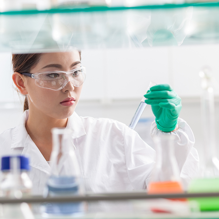 Biopharmaceutical scientist working in a lab.